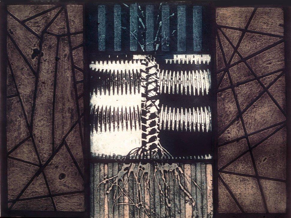 Aeolus intaglio etching carborundum print stephen vaughan