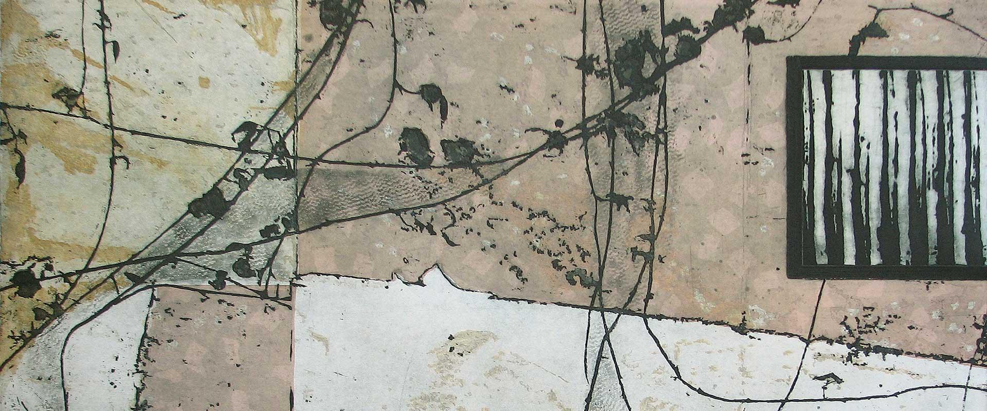 Secret Garden detail of etching and carborundum print by Stephen Vaughan
