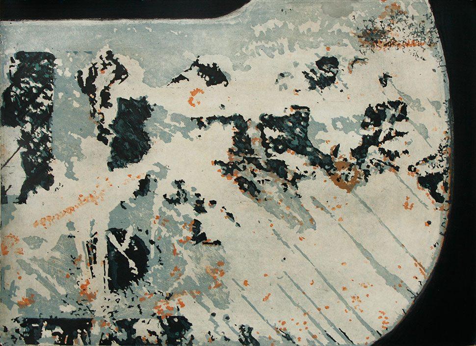 Breaking the Waves, etching by Stephen Vaughan