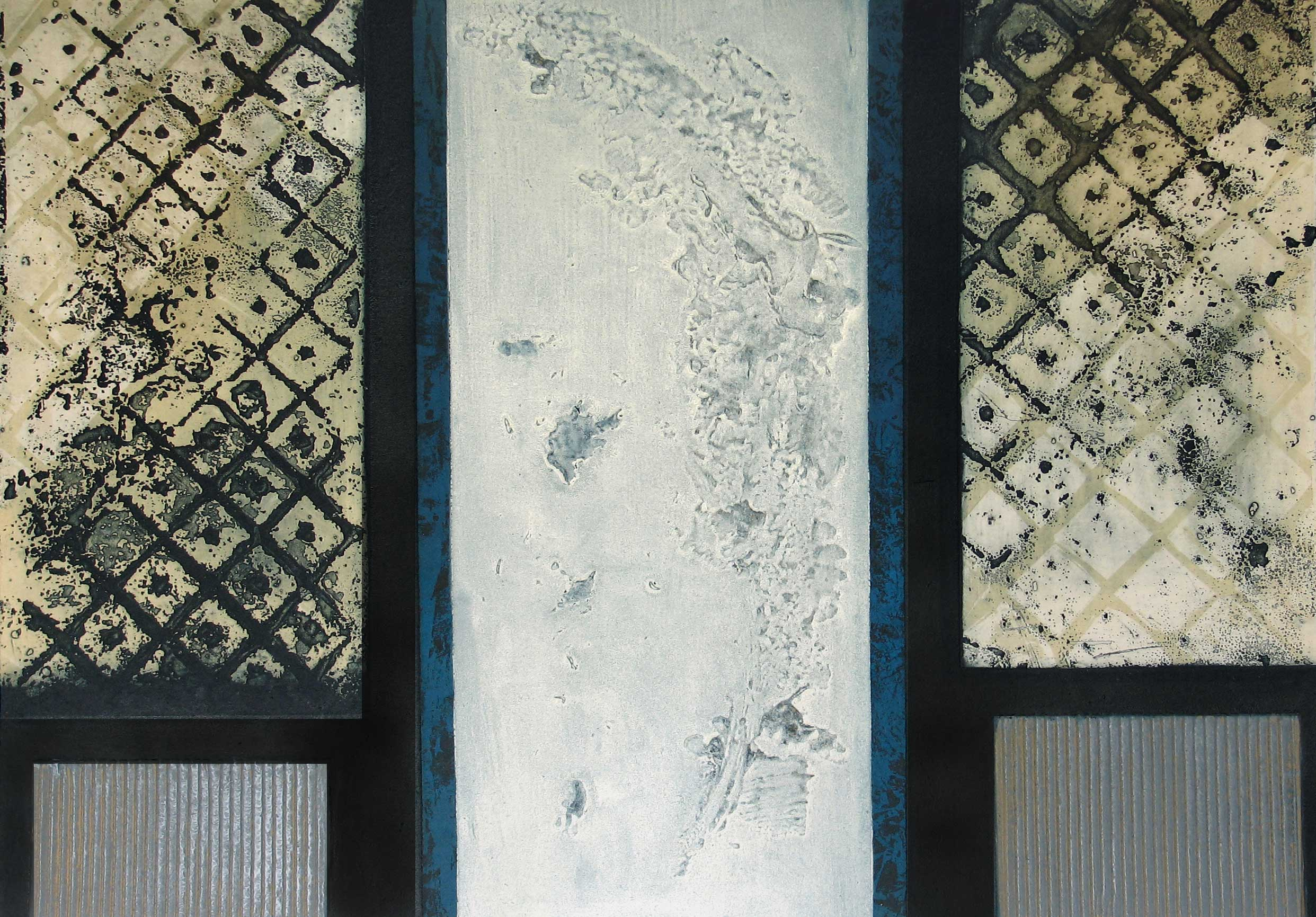 Apollo: photo-etched panels with carborundum print made by Stephen Vaughan