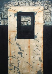 Sentinel: etching carborundum print by Stephen Vaughan