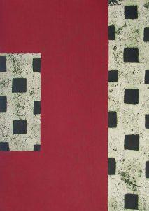 Three Castles I: etching carborundum print by Stephen Vaughan