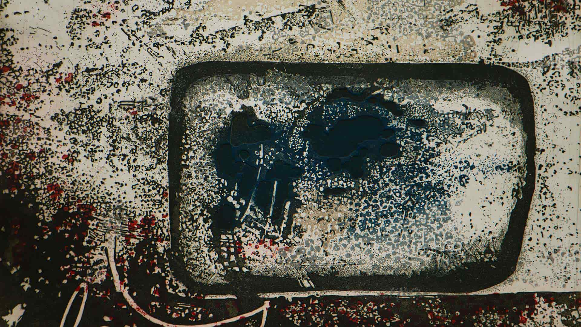 Spectre etching carborundum fine art print by Stephen Vaughan detail
